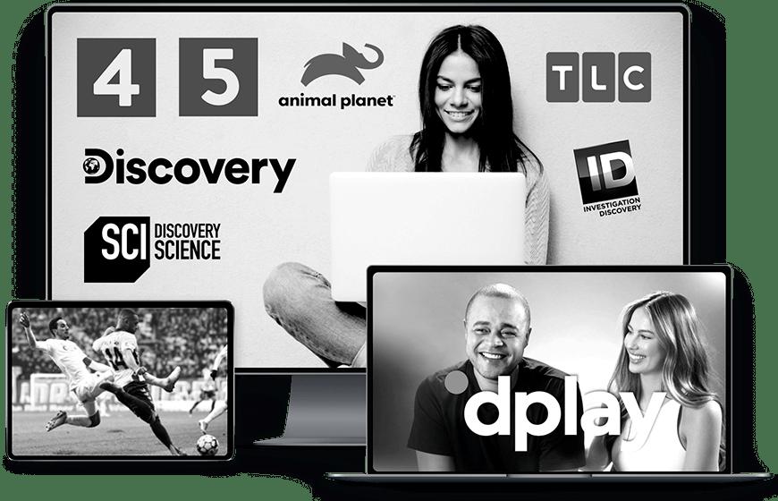 Discovery+ vist på fjernsyn, iPad og computer