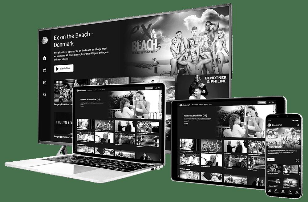 Devices der viser Discovery+ hjemmesiden