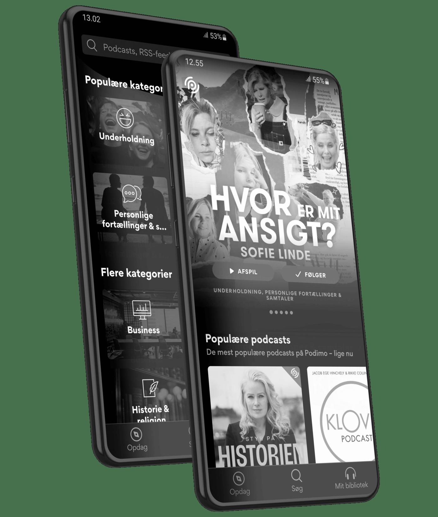 Mobiler der viser Podimo på skærmen