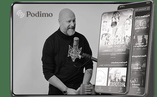 Podimo podcast vist på iPad og mobil